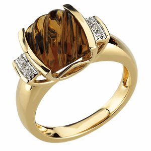14k Gold GENUINE CARVED HONEY CITRINE AND DIAMOND RING