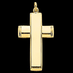 14k Gold Hollow Back Design Cross
