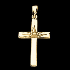 14k Gold Hollow Sunrise Cross