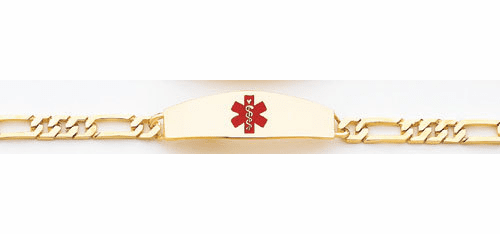 14k Gold Medical Bracelet, Open Link,