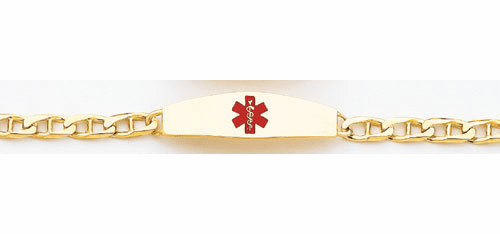 14k Gold Medical  ID Bracelet, 7 inches