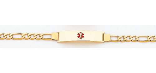 14k Gold Medical ID Bracelet, Figaro Link