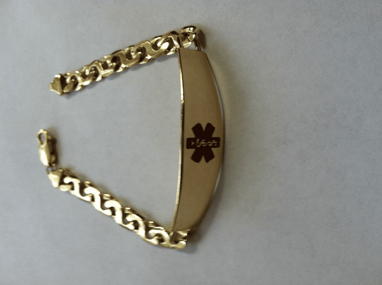 14k Gold Medical ID Bracelet, Figure 8 Link