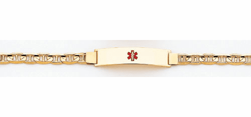 14k Gold Medical ID Bracelet, Mariner Link