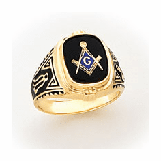 14k Gold Men's Masonic Ring with Closed Back