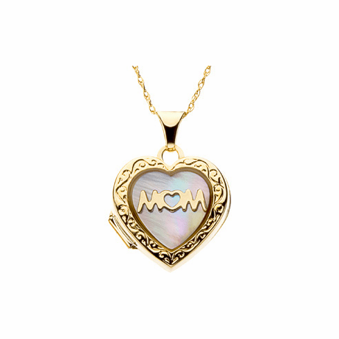 """14k Gold Mother of pearl heart shaped """"Mom"""" locket"""