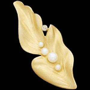 14k Gold  Pearl And Diamond Leaf Brooch
