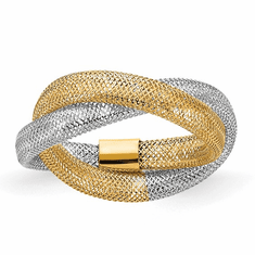 14K Gold Twisted Woven Mesh Stretch Ring