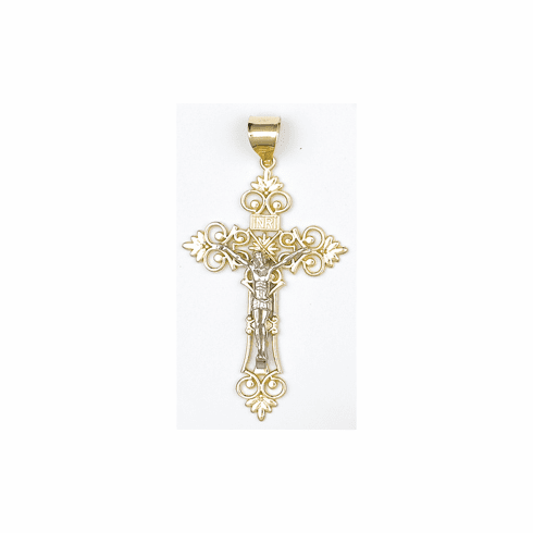 14k Gold Two-tone Crucifix