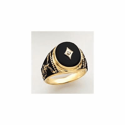 14k Gold United States Air Force Onyx and Diamond Military Ring
