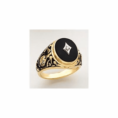 14k Gold United States Marines Onyx and Diamond Military Ring