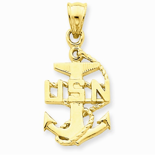 14k Gold United States Navy Anchor Charm