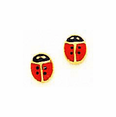 14K Ladybug Earrings