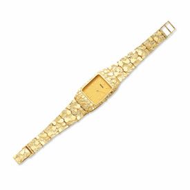 14k Mens Squared Champagne 27x47mm Dial Solid Nugget Watch