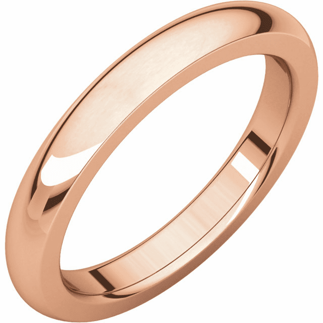 14k Rose Gold, 3mm wide, Heavy Comfort Fit Wedding Band. Buy One, Get One Free