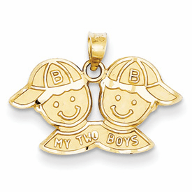 14k Solid Satin My Two Boys Charm
