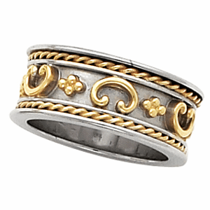 14k Two Tone Gold 8mm Etruscan Anniversary Band