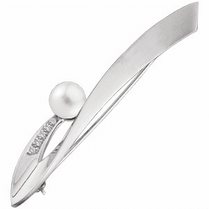 14k White Gold Diamond Accented Pearl Brooch