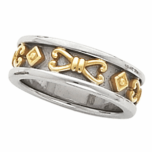 14k White Gold Etruscan Anniversary Band