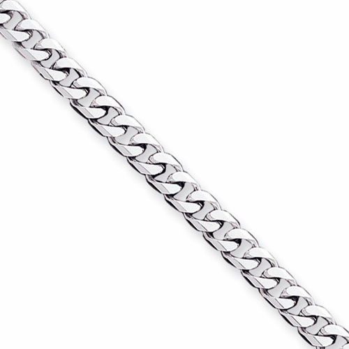 14k White Gold Hand-Polished Curb Link Necklace