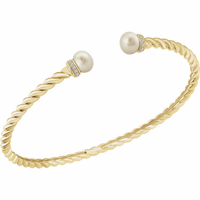 14K Yellow Freshwater Cultured Pearl & 1/10 CTW Diamond Bangle Bracelet