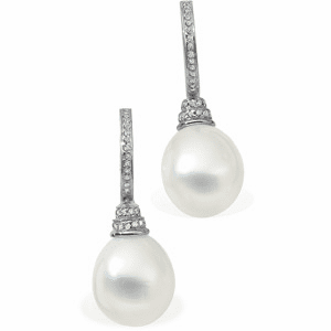 18k White Gold Paspaley South Sea Cultured Pearl & Diamond Earrings