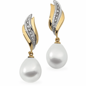 18KY Gold Earrings with 12mm Paspaley South Sea Cultured Pearl & Diamonds