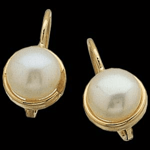6.5mm Cultured Freshwater Pearl Lever Back 14k GOld Earrings
