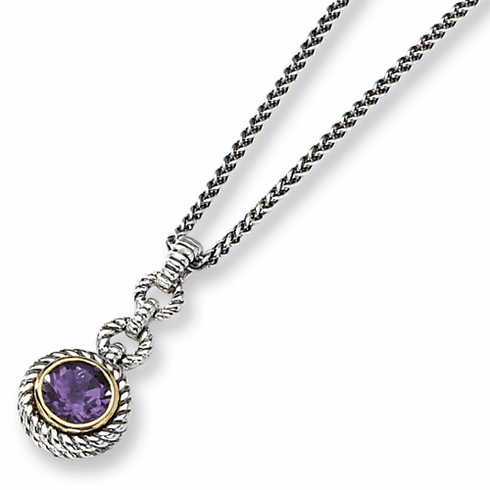 """Antiqued Sterling Silver  Amethyst 18"""" Necklace with 14k Gold by Town and Country Collection"""