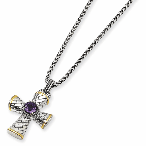 """Antiqued Sterling Silver and 14k  Amythest 18"""" Cross Necklace by Town and Country Collection"""