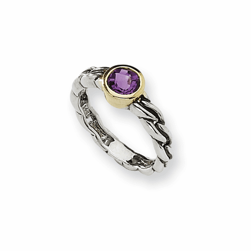 Antiqued Sterling Silver and 14k Yellow Gold  6mm Round Amethyst Ring by Town and Country