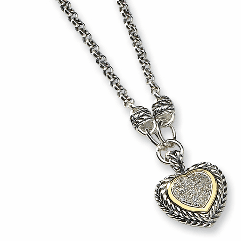 Antiqued Sterling Silver & Diamond Heart 20 inch Necklace