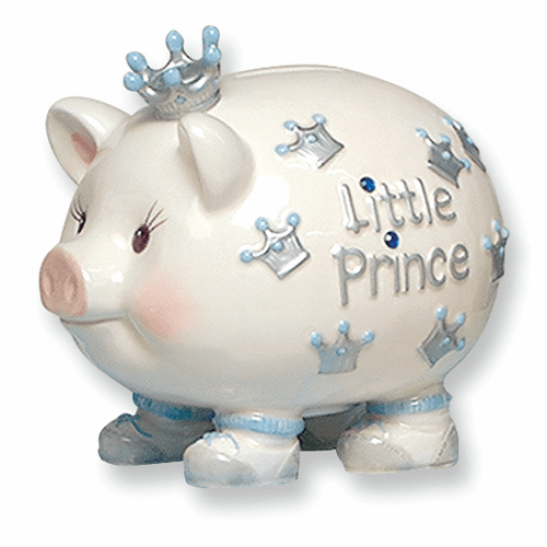 Ceramic Little Prince Crown Piggy Bank from the Mudpie Collection
