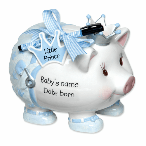 Ceramic Prince Personalization Piggy Bank by Mudpie