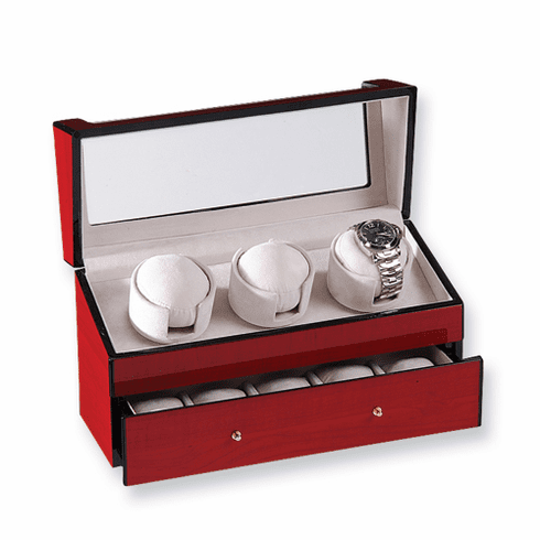Cherry Finish Triple Watch Winder by Rotations
