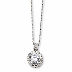 Cheryl M. Collection Sterling Silver 100-facet CZ 18in Necklace