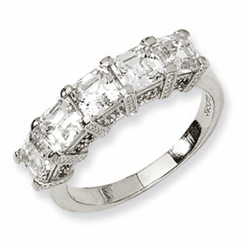 Cheryl M Collection Sterling Silver Asscher-cut CZ 5-stone Ring