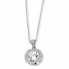 Cheryl M. Collection Sterling Silver CZ 18in Necklace