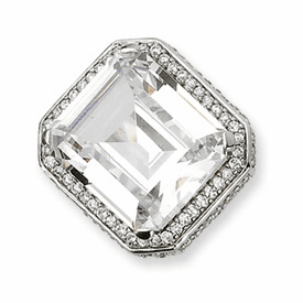 Cheryl M. Collection Sterling Silver CZ Asscher Cut Ring