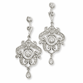 Cheryl M Collection Sterling Silver CZ Chandelier Dangle Post Earrings