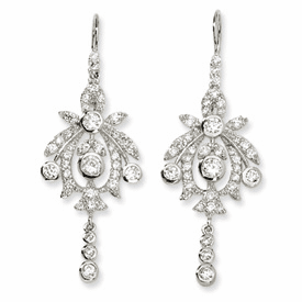Cheryl M Collection Sterling Silver CZ Chandelier French Wire Earrings
