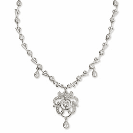 Cheryl M. Collection Sterling Silver CZ Chandelier Necklace