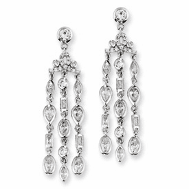 Cheryl M Collection Sterling Silver CZ Chandelier Post Earrings