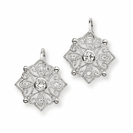 Cheryl M Collection  Sterling Silver CZ Dangle Earrings