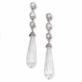 Cheryl M Collection Sterling Silver CZ Faceted Teardrop Dangle Post Earrings