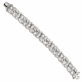 Cheryl M Collection Sterling Silver CZ Fancy 7.5in Bracelet