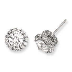 Cheryl M. Collection Sterling Silver CZ Round Post Earrings