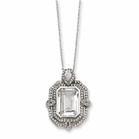 Cheryl M. Collection Sterling Silver CZ Step Cut Necklace