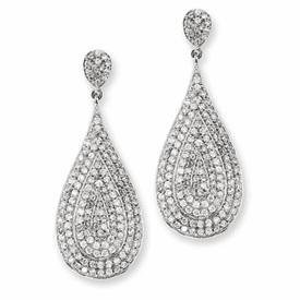 CHeryl M. Collection Sterling Silver CZ Teardrop Dangle Post Earrings