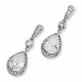 Cheryl M. Collection Sterling Silver Pear CZ Dangle Post Earrings